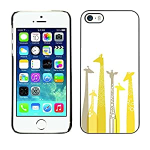 X-ray Impreso colorido protector duro espalda Funda piel de Shell para Apple iPhone 5 / iPhone 5S - Giraffe Artistic Yellow Minimalist Grey