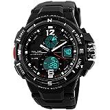 Men's Digital Analog Sports Watch, Alarm Stopwatch 30M Water Resistance, Waterproof Wrist Watch - Black