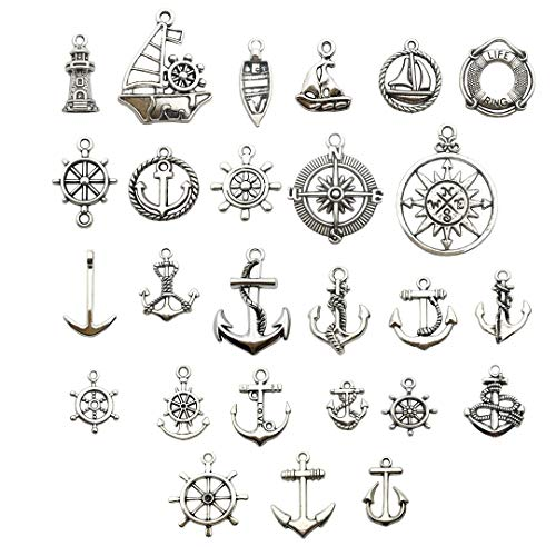 Nautical Charm Collection-50 Pcs Craft Supplies Nautical Ship Wheel Anchor lig Charms Pendants for Crafting, Jewelry Findings Making Accessory For DIY Necklace Bracelet (Antique Silver Nautical Charm) -