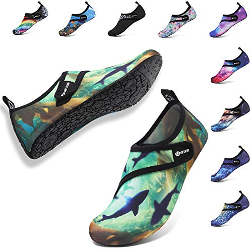 VIFUUR Womens Mens Water Shoes Adjustable Aqua Socks for Outdoor Swimming Beach Strap Ocean 40/41