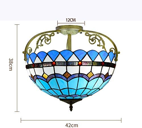 Creative Ceiling Light 16 Inch Half Ceiling Light Tiffany Stained galss Ceiling Lamp Simple Style Blue Mediterranean Pattern for Living Room Corridor Bedroom