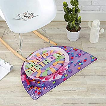 Birthday Bath Mats For Floors Delicious Cake On A Table With Stars And Presents Party
