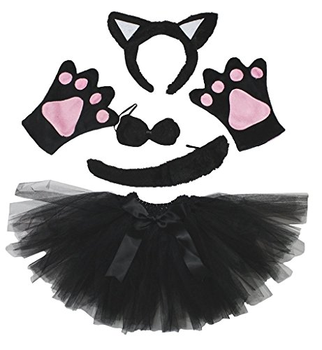Petitebella Animal Headband Bowtie Tail Gloves Tutu 5pc Girl Costume (Black Cat) -