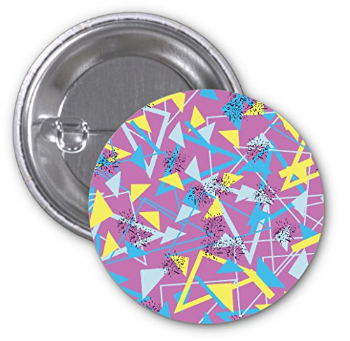 (Yellow And Blue Triangles Retro Design 2 PACK of 3 Inch Buttons Flare by egeek amz)