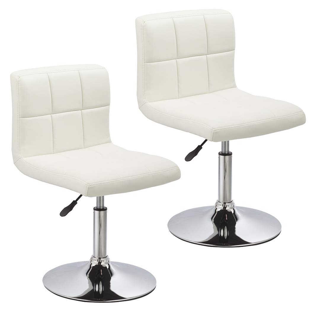 Duhome 2 PCS Contemporary Dining Chairs Swivel Height Adjustable PU Leather Restaurant Cafe Bistro Reception Stools 451N White