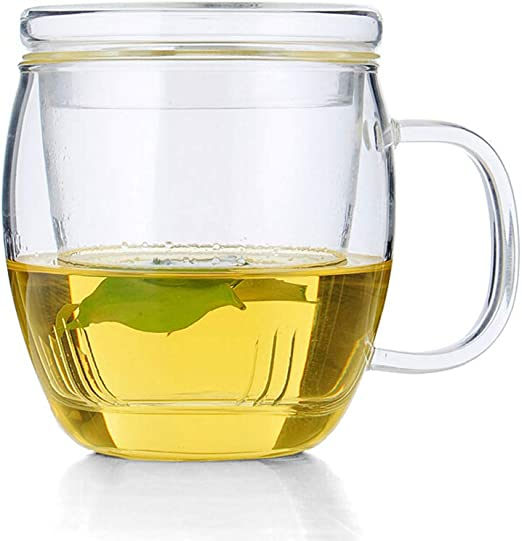 Double Wall Coffee Mug 17 Oz Insulated Borosilicate Glass Cup Handle Lid Cups