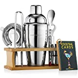 Mixology Bartender Kit with Stand | Bar Set Cocktail Shaker Set for Drink Mixing - Bar Tools: Martini Shaker, Jigger, Strainer, Bar Mixer Spoon, Tongs, Bottle Opener | Best Bartender Kit for Beginners