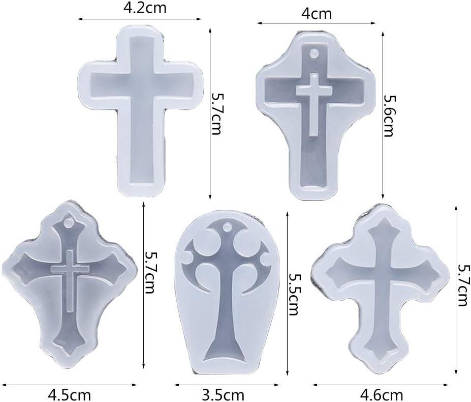 RK-HYTQWR 5 Pezzi//Set Croce Silicone Stampo epossidico Resina Ciondolo Artigianato Fai da Te creazione di Gioielli Stampo Specchio Croce Resina epossidica Stampo
