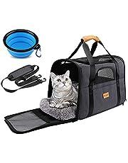 morpilot Pudełko transportowe dla psów, oddychające i składane pudełko dla psa, z regulowanym paskiem na ramię, klatka transportowa dla kotów ze zdejmowanym pluszowym materacem + miska