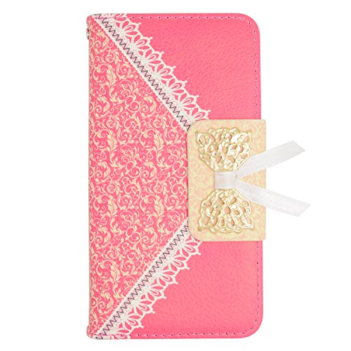 Eagle Cell Flip Wallet Lace Pattern PU Leather Case Cover for LG L70/Ultimate 2 L41C/Exceed 2/Realm - Retail Packaging - Hot Pink (Lg Realm Hot Pink Phone Case)