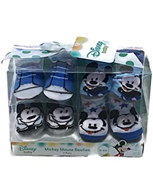 Disney Baby Mickey Mouse Gift Boxed Baby Booties Set - 4 Pairs, 0 - 6 Months