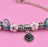 Gorgeous Jewelry Pink Flower Pendant Engraving Cherry Blossom Glass Beads Bracelets of Pandora Jewellery