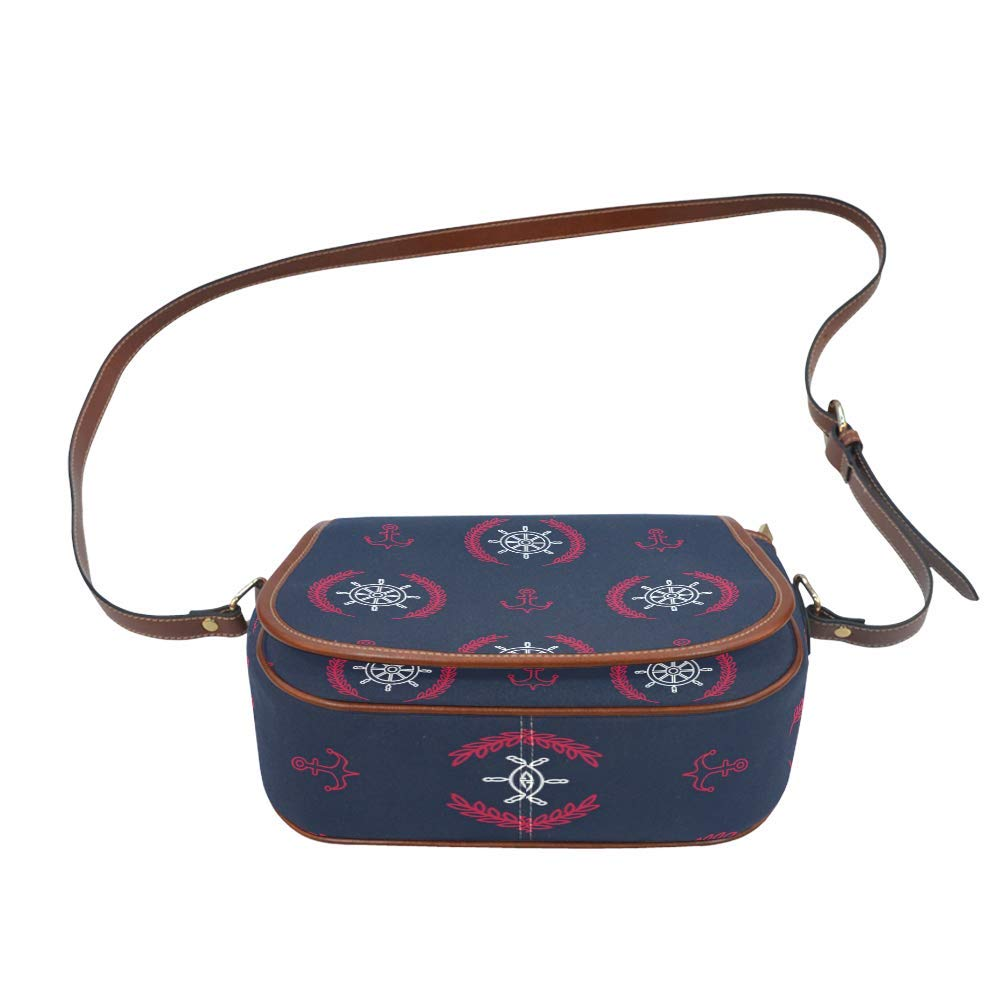 Nautical Pattern With Anchors Oxford Fabric Saddle Bag Crossbody Messenger Shoulder Bag Purse Hand Shoulder Crossbody Bag