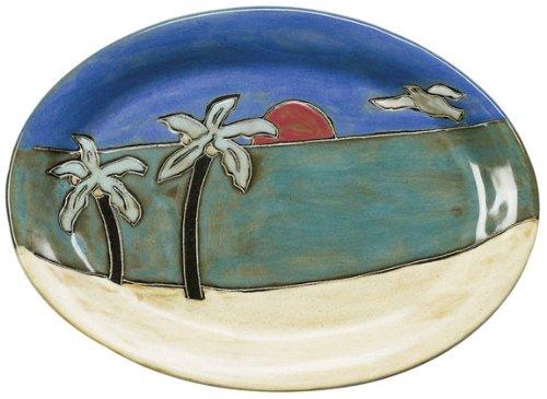 Mara Ceramic Stoneware 13 Inch Palm Trees and Beach Small Oval Platter - Ceramic Palm Tree