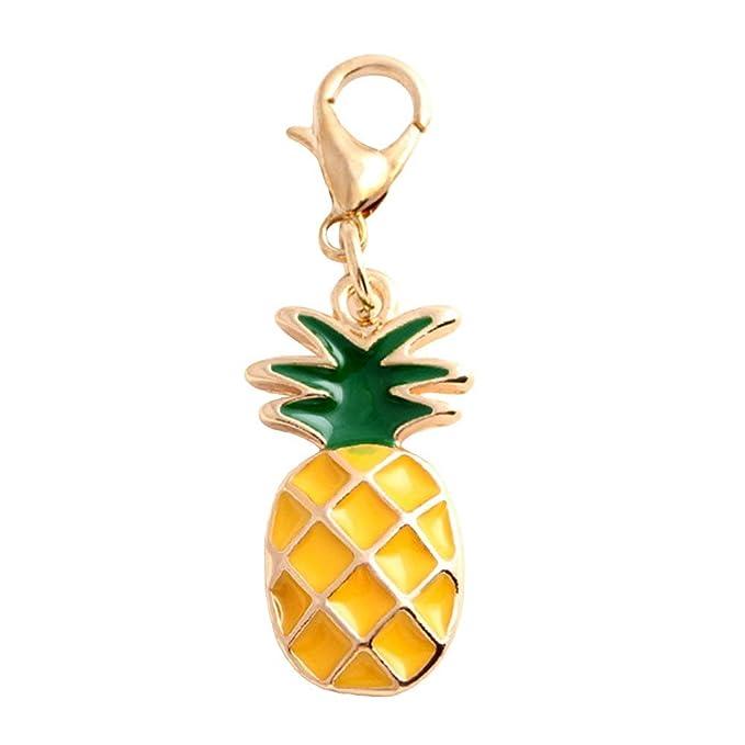 Amazon.com: mosichi Cute esmalte Piña Forma llavero bolso ...