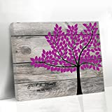 Rustic Guest Book Alternative for Wedding Personalized Wedding Tree Guest Book Hot Pink Wedding Favor Antique Wooden Guestbook Rustic Wedding Decoration Canvas Wedding Book Signature with 150 Leaves