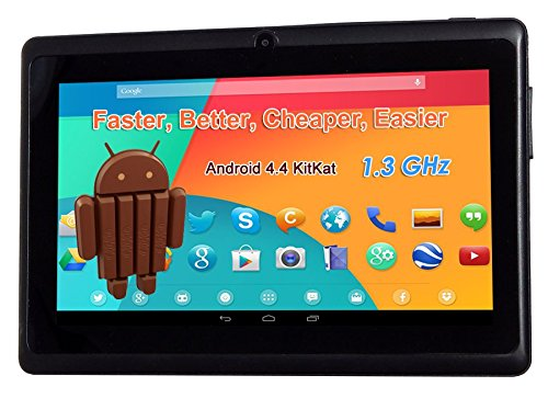 7 1024 A23 1.3Ghz Android 4.4 Capacitive Dual Camera Tablet PC Black