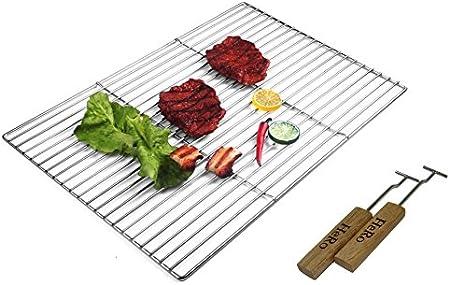 Grille de barbecue Acier inoxydable Carrée 60 x 40 cm Sans