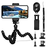 Tripod for Phone, PEYOU [5 in 1] Upgraded Sponge Lightweight Octopus Tripod Stand + 2PCS Tripod Adapter for Gopro + Phone Mount Holder for iPhone Xs/Xs Max/X 8/8 Plus 7/7 Plus SE, Compatible for Samsung Galaxy S9/S9 Plus S8/S8 Plus Note 9/8/5, Other Phones Width Between 55mm - 85mm + Bluetooth Wireless Remote Control Shutter