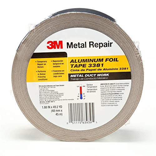 3M Foil Tape 3381 Silver, 1.88 in x 50 yd 2.7 mil (Pack of 1) ()