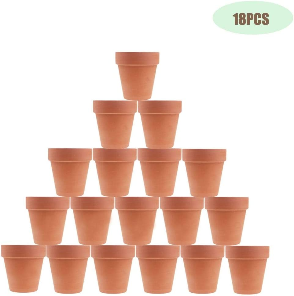 JULIA 3 Inches Terracotta Clay Pots Pack of 18 pcs- Pottery Fleshy Flower Planter with Drainage Hole for DIY Home and Office Desktop Windowsill Ornament Decoration Wedding