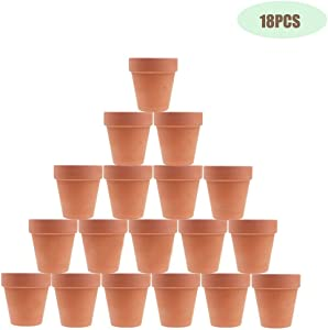 Kosrtuny 3 Inches Terracotta Clay Pots Pack of 18 pcs- Pottery Fleshy Flower Planter with Drainage Hole,for DIY Home and Office Desktop/Windowsill/Ornament Decoration Wedding