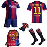 Barcelona Kids Jersey 2014/2015 Fc Barcelona #11 Neymar Jr Home Football Soccer Kit Shorts &Socks +Drawstring Gym Multipurpose Bag & free key chain for 3-14 Years Kids (11-12years)