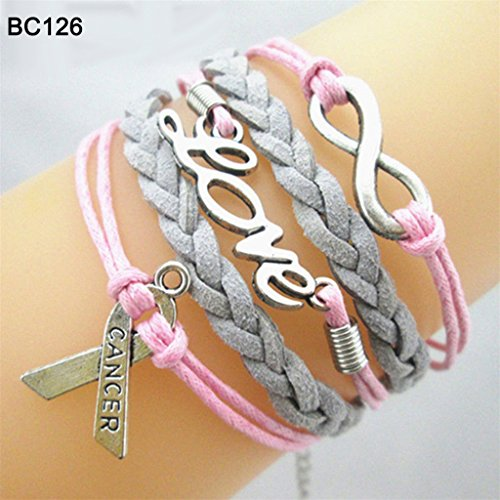 Braceus Infinity Hope Faith Breast Cancer Awareness Sign Charm Multi Layers Bracelet size Bc126