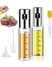 Olive Oil Sprayer, Grilling Olive Oil Glass Bottle 100ml for 2 Packs, Stainless Steel Glass Oil Dispenser for Cooking, BBQ, Salad, Baking Kitchen Tools