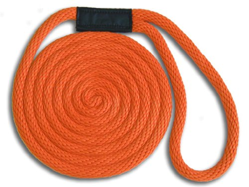 3/8'' x 15' Orange Solid Braid Nylon Dock Line - Made in USA by Mad Dog