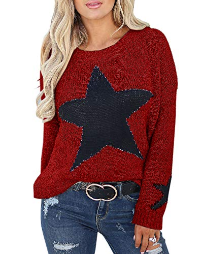 Imily Bela Womens Star Graphic Sweater Crochet Oversized Slouchy Pullover Outwears ()