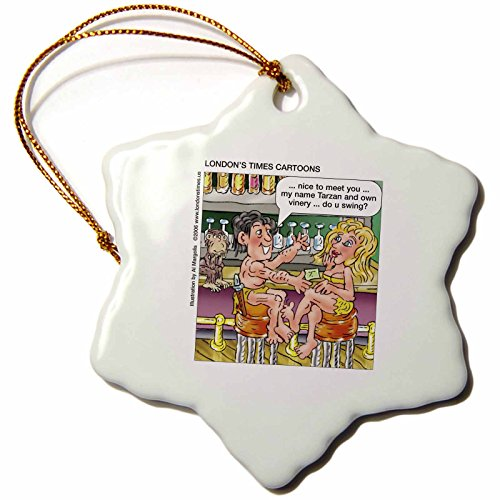 Tarzan Pickup Lines (3dRose Londons Times Funny Famous Cartoons - Tarzan Pick-Up Lines - 3 inch Snowflake Porcelain Ornament (orn_3420_1))