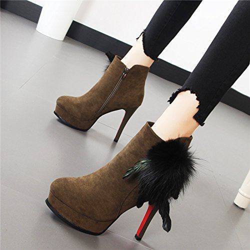Black Side Platforms 12Cm Clubs HBDLH Thin Scarpe Zippers Short Boots Sexy Waterproof Martin Boots High Heels da Heels donna xw4UB4q0TR