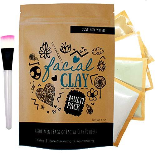 (Clay Face Mask Assortment Pack | Indian Healing Clay, Green Clay, Rhassoul Clay and Kaolin Clay| Makes up to 20 masks | Bonus: Facial Mask Brush)