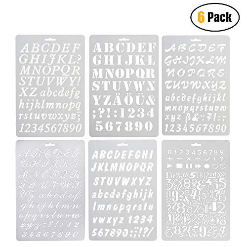 6 Pcs Alphabet Stencil, Plastic Letter Number Templates for Planner/Notebook/Diary/Scrapbook/Journaling/Graffiti/Card DIY Drawing Painting Craft Projects
