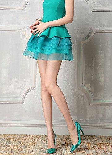 インポート ピンク importpink グリーン チュール 付き ミニ ワンピース パーティー ドレス ミニ 緑 М