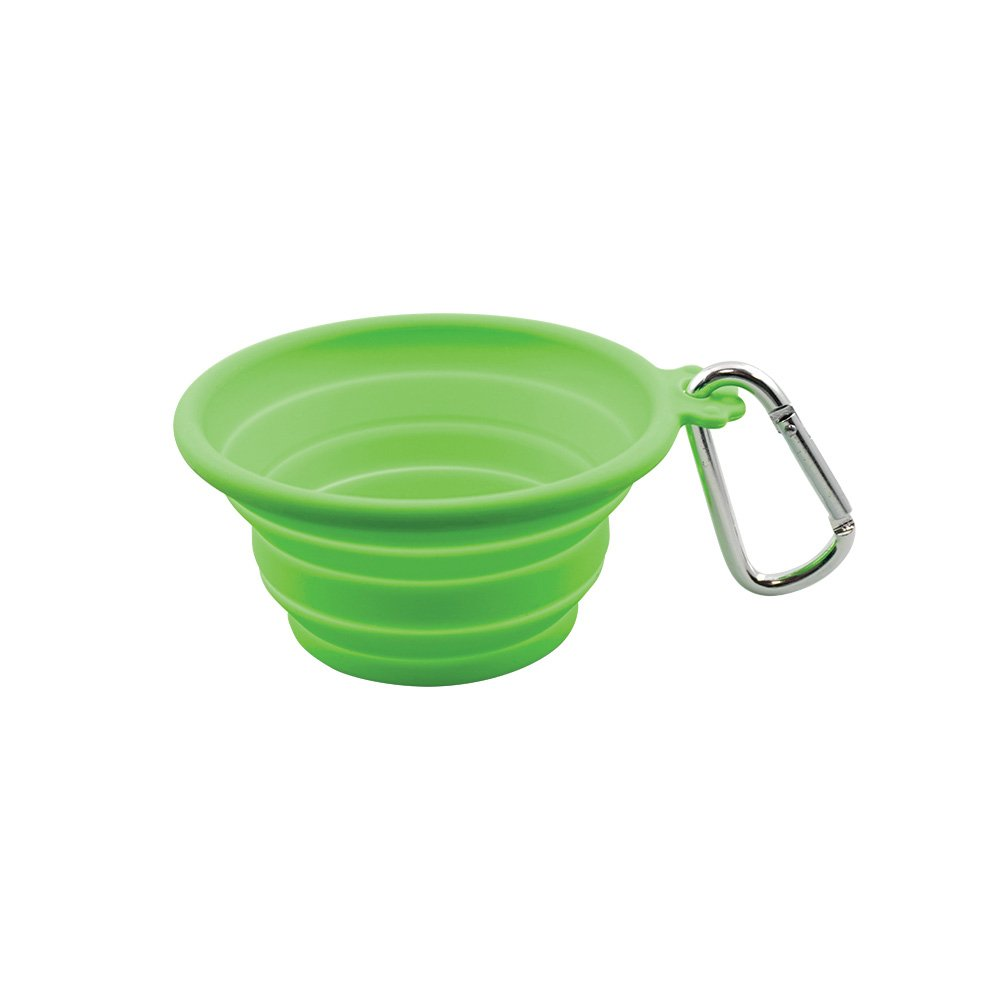 FFD Pet 60224 Pet Silicone Collapsible Travel Bowl for Dogs and Cats, Medium, Lime Green, 26.5oz/750mL, 5'' by FFDPET