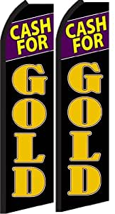 Cash for Gold Standard Size Swooper Feather Flag Sign Pk of 2 (11.5x 2.5 Feet)