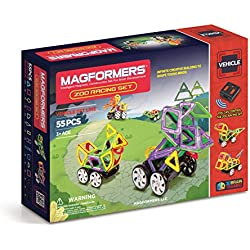 Magformers Zoo Racing 55 Pieces, Wheels and Rainbow Colors, Educational Magnetic Geometric Shapes Tiles Building STEM Toy Set Ages 3+