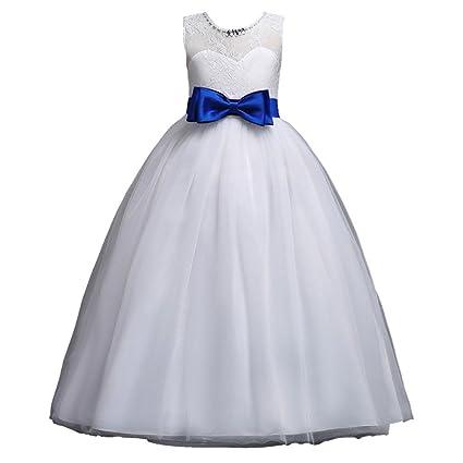 685aad9ab1c Mädchen Blumenmädchenkleid Kinder Tüll Prinzessin Kleid Weihnachten Ärmellos  mit Hochzeit Kleid Blumen Tüll Bogen Kleid Lonshell