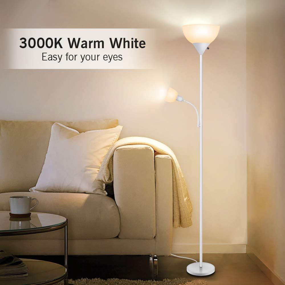 Amazon.com: Lámpara de pie moderna, 9 W + 4 W, ahorro de ...