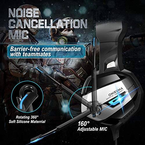 CIC ONIKUMA K5 Fone de Ouvido Headset Gamer Profissional Estéreo Cancelamento de Ruído Microfone LED para PS4, PC, XBox…