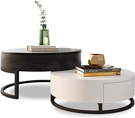 Amazon Com Homary Round Coffee Table Storage Lift Top Wood Coffee Table Lifts Up With Rotatable Drawers White Black Kitchen Dining
