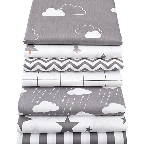 Patchwork Shower Baby - 7Pcs/Set 40x50cm Gray Patchwork Cotton Fabric- Fat Quarters for Sewing- Fat Quarters Fabric Bundles Baby and Children- Quilting Fabrics Precut Squares- Patchwork Fabrics for Quilting Sewing Doll Cloth