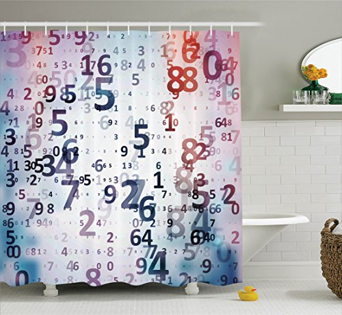 Abstract Home Decor Shower Curtain Set by Ambesonne, Digital Code Numbers Computer Database Science Information Technology Themed Art, Fabric Bathroom Set with Hooks, 69W X 70L Inches, Lilac and Coral