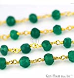 One Foot Beautiful Green Onyx, 4mm 24k Gold Plated wire wrapped Rosary Chain by foot. (GPGO-30003)