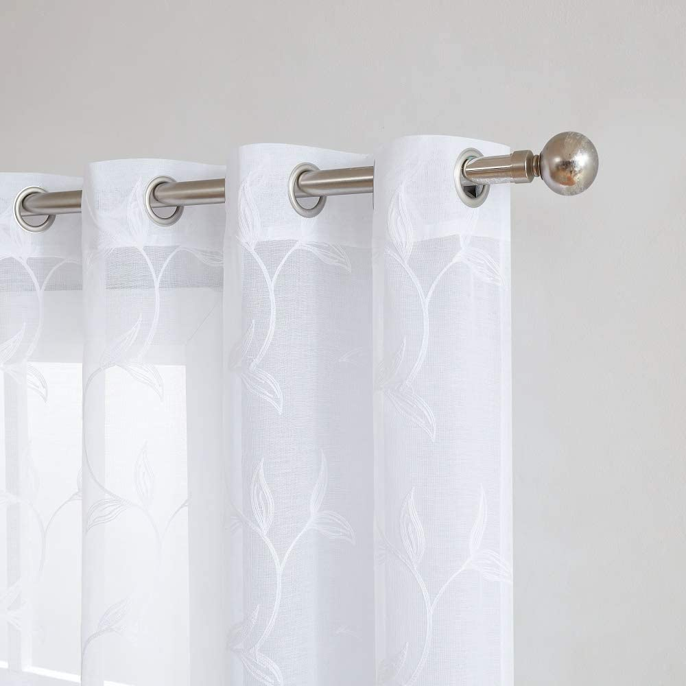 """WARM HOME DESIGNS Pair of 2 Sheer White Faux-Linen Standard Size Curtain Panels with Beautiful White Color Stitched Leaf Embroidery. Each Grommet Drape is 54"""" (Width) x 84"""" (Length). M White 84"""""""
