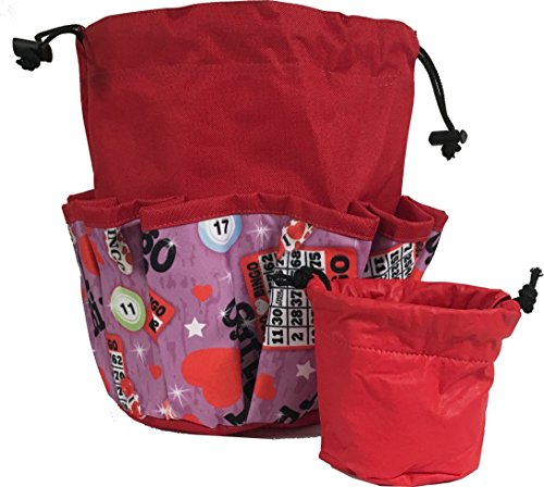 10 Pocket I Love Bingo Red Drawstring Bingo Bag by United Novelty