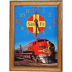 Santa Fe Railway Warbonnet Wood Framed Wall Clock
