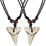 2pcs Shark Tooth Necklace Set Handmade Necklace with Adjustable Cotton Cord for Men